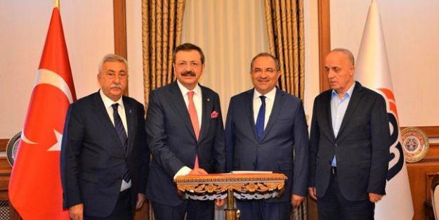 TOBB, TESK ve Türk-İş BaşkanlarındanVali Kaban'a ziyaret