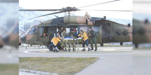 Hastanın yardımına askeri helikopter yetişti