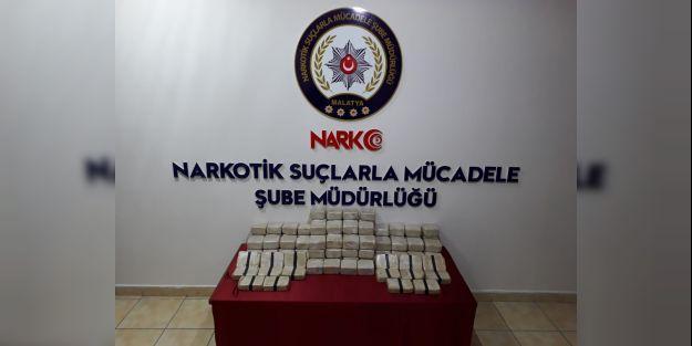 Malatya'da bir otobüste58 kilogrameroin ele geçirildi