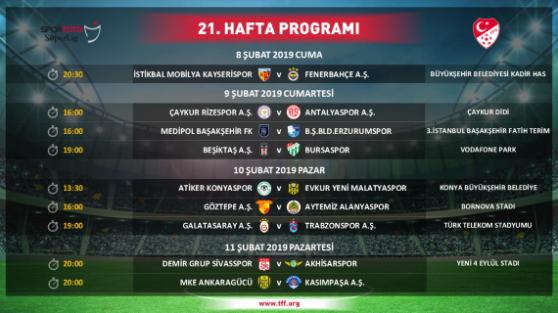 Süper Lig'de iki haftalık program açıklandı
