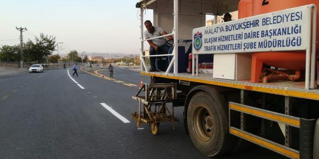 28 bin metre yol çizgi çalışması yapıldı