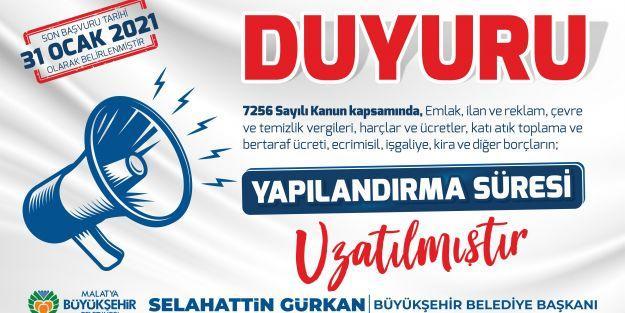 Büyükşehir belediyesinden yapılandırma açıklaması