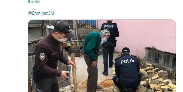 Polis İsmail Dede'nin odunlarını kırdı