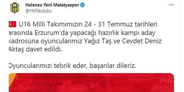 YeniMalatyasporlu genç futbolculara milli davet
