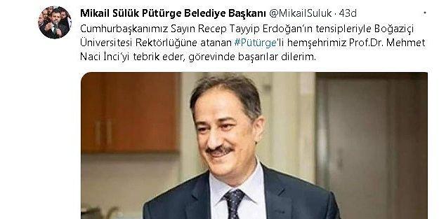 Pütürge'den Boğaziçi Üniversitesi Rektörlüğüne