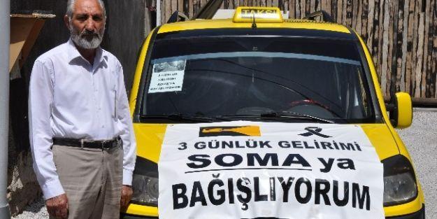 Duyarlı Taksici, 3 Günlük Gelirini Soma'ya Bağışladı