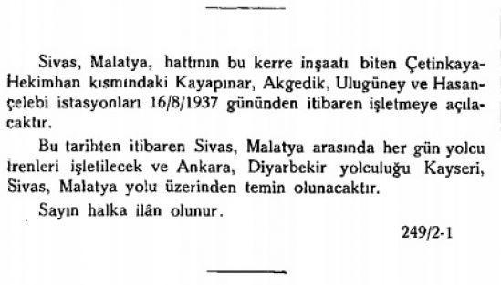 Sayın halka duyurulur; Sivas-Malatya arasında yolcu trenleri işletilecek